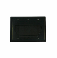 DataComm Triple Gang Recessed Low Voltage Cable Wall Plate - Black
