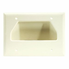 DataComm Triple Gang Recessed Low Voltage Cable Wall Plate - Light Almond