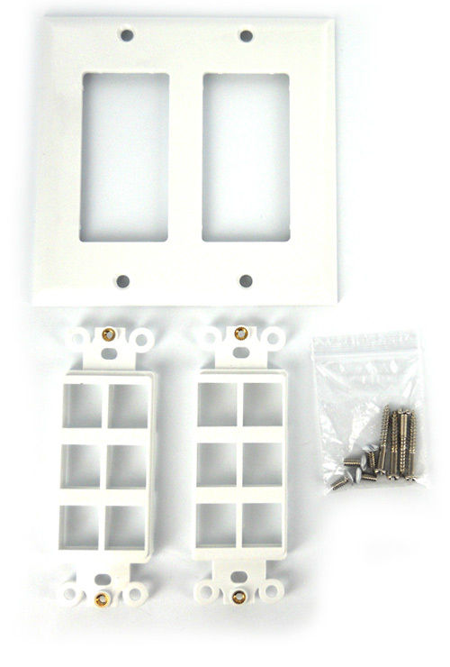 Double Gang 12 Port Keystone Wall Plate White See Notes