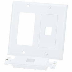 Double Gang 2 Port Keystone Wall Plate - White