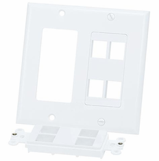 Double Gang 8 Port Keystone Wall Plate - White *SEE NOTES*