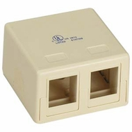 Double Port Empty Surface Mount Box - Ivory