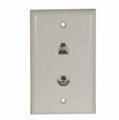 F Coupler / RJ11 Wall Plate - White