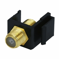 "Gold Plated Coax ""F"" Connector Keystone Insert - Black"