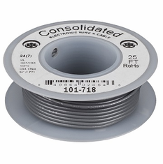 Gray 25 Foot 24 AWG stranded hook-up wire