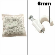 Nail-in Ethernet / RG59 Clip White 100pk (6mm)