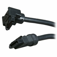 "OKGear 10"" Black SATA 6Gbs Round Data Cable, Right Angle to Straight, with Clips"
