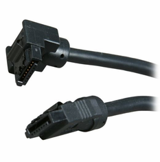 "OKGear 24"" Black SATA 6Gbs Round Data Cable, Right Angle to Straight, with Clips"