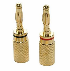 Pair of Banana Plug Speaker Connectors, Gold Plated, for 12-18 AWG