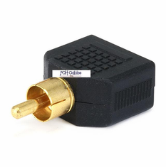RCA Plug to 2 x 3.5mm Mono Jack Splitter Adaptor - Gold Plated