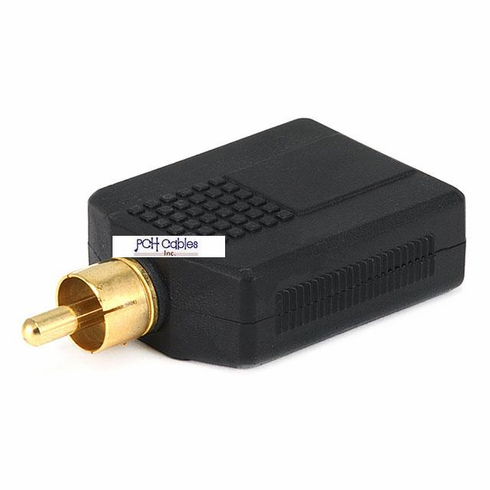 RCA Plug to 2 x 6.35mm (1/4 Inch) Stereo Jack Splitter Adaptor - Gold Plated