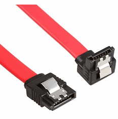 """Red 18"""" SATA III 6GB Data Cable, Right Angle to Straight with Clips"""