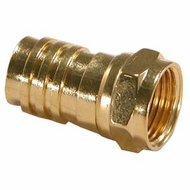 RG6 F-Type Crimp-On Connector w/Attached Ring, Gold Plated - 5 Pack