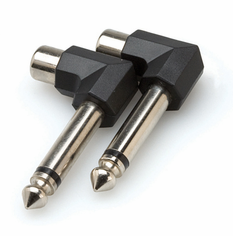 Right-angle Adaptors, RCA to 1/4 in TS, 2 pc
