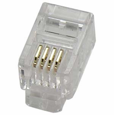 RJ22 (Handset) 4P4C (4 Position, 4 Conductor) Plug for Flat Stranded Wire - 10 Pack