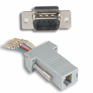 RJ45 (8 Conductor) - DB9 Male Modular Adapter