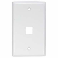 Single Port Smooth Faced Wall Plate for Keystone Jacks, White