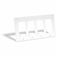 Steren 4 Gang Decora Wall Plate Blank, White