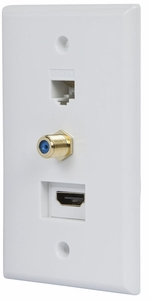 White Recessed HDMI Wall Plate, with HDMI, CAT5e and Coax Connector - Click to enlarge