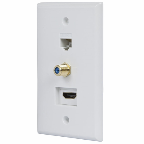 White Recessed HDMI Wall Plate, with HDMI, CAT5e and Coax Connector