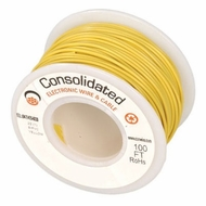 Yellow 25 Foot 16 AWG stranded hook-up wire