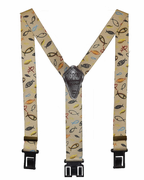 "1-1/2"" Khaki Christian Fish Perry Suspenders - 48"""