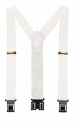 "1 1/2"" White Perry Suspenders - 48"""