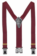 "1-3/8"" XL Original Perry Suspenders Burgundy Checkers-54"""