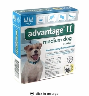 Advantage II Flea Control for Medium Dogs 11-20 lbs, 4pk