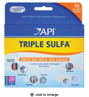 API Triple Sulfa Anti-Bacterial Fish Medication 10pk