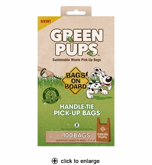 Bags on Board Green Pups Handle-Tie Pick-Up Bags 100ct