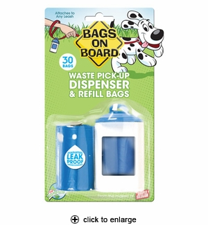 Bags on Board Waste Pick-up Dispenser & Refill Bags 30ct