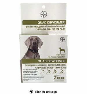 Bayer Quad Dewormer Tablets for Large Dogs 2ct