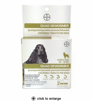 Bayer Quad Dewormer Tablets for Medium Dogs 2ct