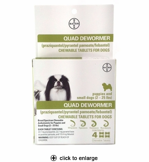 Bayer Quad Dewormer Tablets for Small Dogs 4ct