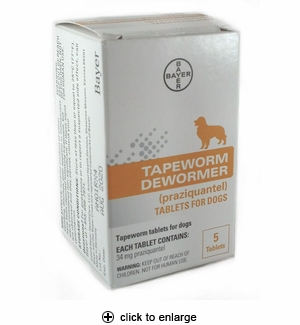 Bayer Tapeworm Dewormer Tablets for Dogs 5ct