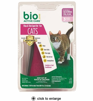 Bio Spot Active Care Flea & Tick Spot On for Cats Over 5# 3pk