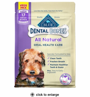 Blue Buffalo Dental Bone Dog Chews Large 17pk