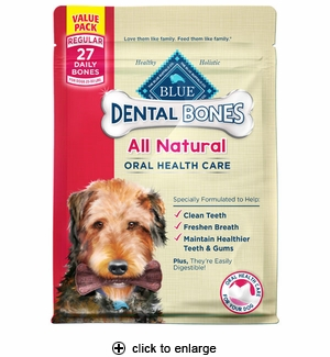 Blue Buffalo Dental Bone Dog Chews Regular 27pk