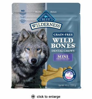 Blue Buffalo Wilderness Wild Bones Dental Dog Chews Mini 10oz
