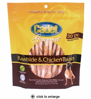 Cadet Rawhide & Chicken Twists Dog Treats 50pk