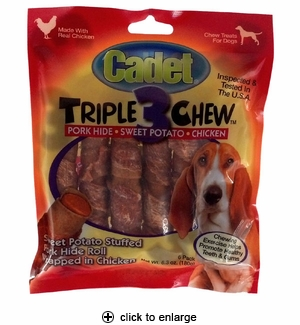 Cadet Triple 3 Chew Dog Treats Chicken 6pk