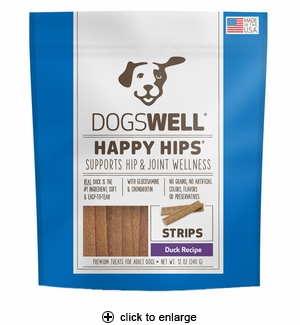 Dogswell Happy Hips Jerky Strips Dog Treat Duck 12oz