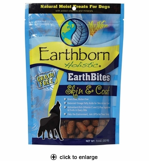 Earthborn Holistic EarthBites Dog Treat for Skin & Coat 7.5oz