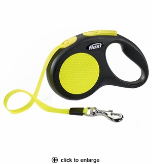 Flexi Neon SM Retractable Tape Leash 16 ft