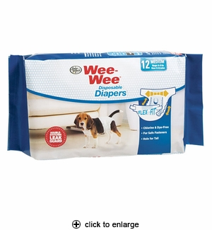 Four Paws Wee-Wee Disposable Dog Diapers Medium 12pk