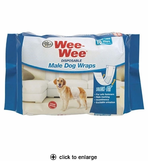 Four Paws Wee-Wee Disposable Male Dog Wraps Medium/Large 12pk