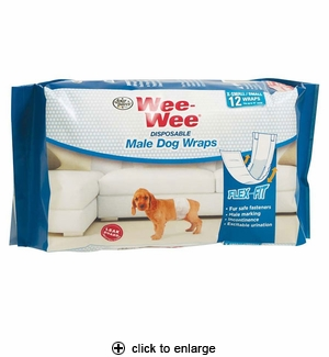 Four Paws Wee-Wee Disposable Male Dog Wraps X-Small/Small 12pk
