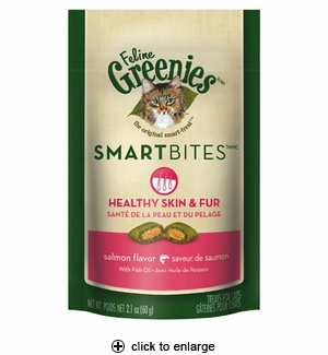 Greenies Feline Smartbites Cat Treats Healthy Skin&Fur Salmon 2.1oz