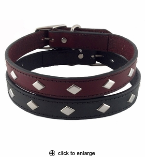 Hamilton Diamond Leather Dog Collar 1